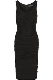 Versace Ruched stretch-tulle dress