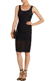 Ruched stretch-tulle dress