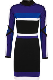 Versace Color-block mesh-paneled stretch-knit dress