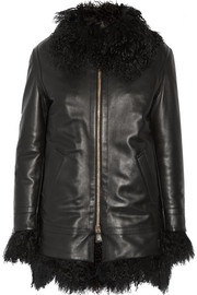 Shearling-trimmed leather coat