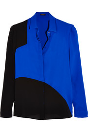 Two-tone silk-georgette shirt