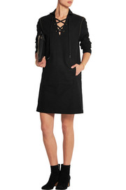 Studded moleskin cotton mini dress
