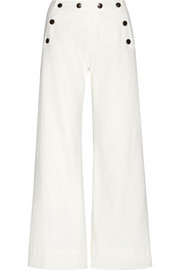 Stretch-cotton wide-leg pants