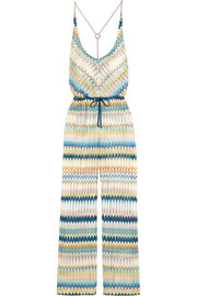 Elisabetta crochet-knit wide-leg jumpsuit
