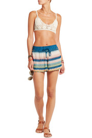 Cutout crochet-knit shorts