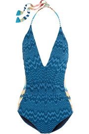 Halterneck crochet-knit swimsuit