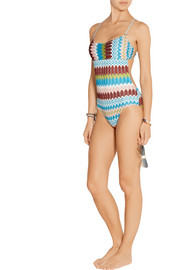 Eva metallic crochet-knit swimsuit