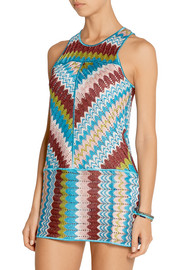 Missoni Eva metallic crochet-knit mini dress