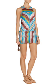 Eva metallic crochet-knit mini dress