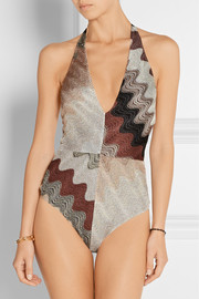 Missoni Erica metallic crochet-knit swimsuit