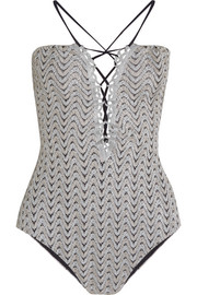 Metallic crochet-knit swimsuit