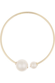 Gold-plated, faux pearl and crystal choker