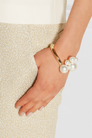 Gold-plated faux pearl cuff