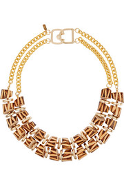 Gold-plated and wood necklace
