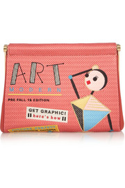 Art Modern Maggie embroidered crepe de chine clutch