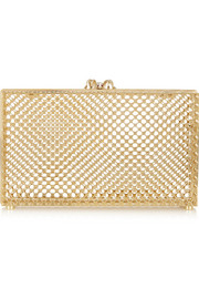 Perforated Pandora gold-tone clutch
