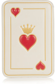 Charlotte Olympia Queen Of Hearts textured-leather clutch