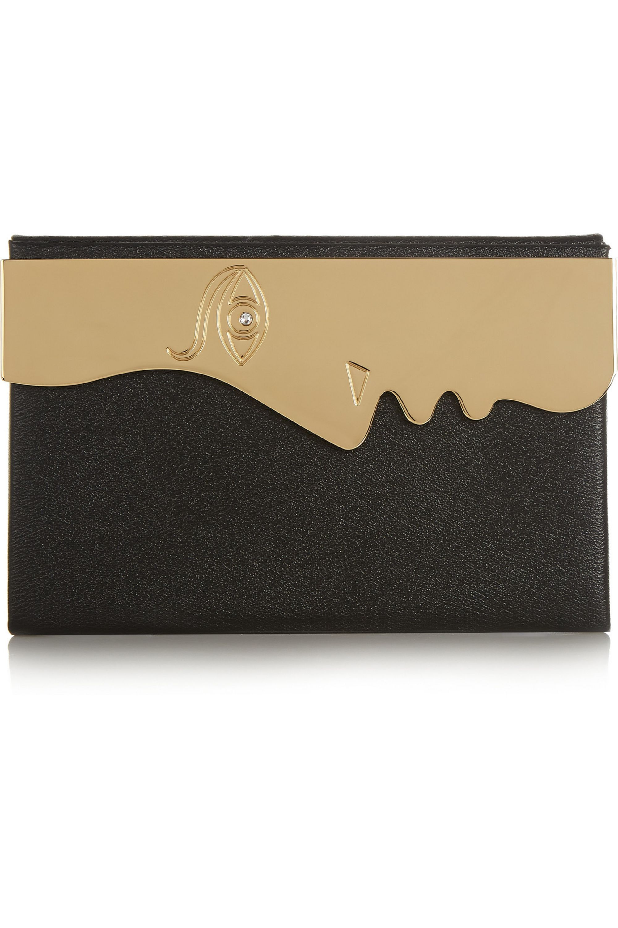 Charlotte Olympia Vanina's Profile gold-tone and textured-leather clutch