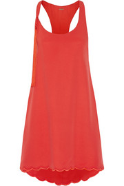 Asymmetric silk-crepe mini dress