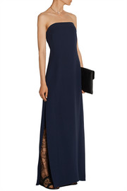 Lace-paneled silk-crepe gown