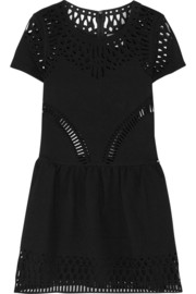 Cutout embroidered stretch-crepe dress