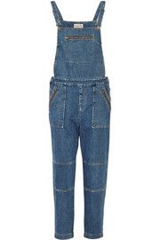 Washed-denim overalls