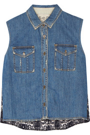 Denim and flocked organza top