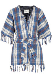 Fringed quilted cotton kimono jacket