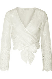Gemma broderie anglaise cotton and silk-blend wrap top