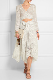 Gemma broderie anglaise cotton and silk-blend skirt