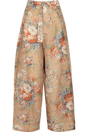 Anais printed cotton and silk-blend wide-leg pants
