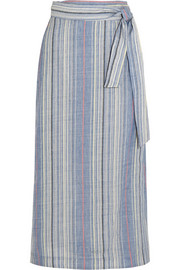 Marisole striped wool and linen-blend skirt