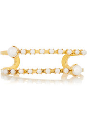 Pearly Queen gold-plated faux pearl cuff