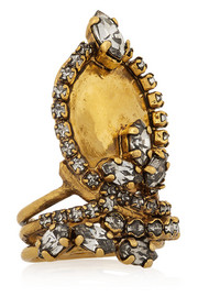 Hung Up gold-plated Swarovski crystal ring