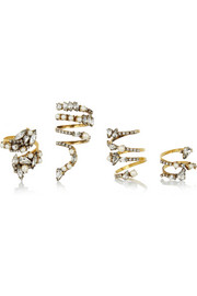 Erickson Beamon Fairy Made set of four gold-plated, Swarovski crystal and Swarovski pearl rings