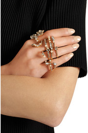 Fairy Made set of four gold-plated, Swarovski crystal and Swarovski pearl rings