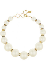 Erickson Beamon Lady and the Tramp gold-plated, Swarovski crystal and faux pearl necklace