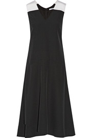 Silk faille-trimmed crepe midi dress