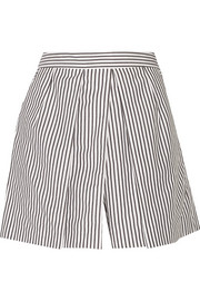 Striped cotton-poplin shorts