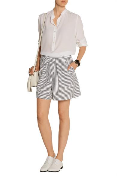 Tome striped cotton poplin shorts net a porter com for Net a porter usa