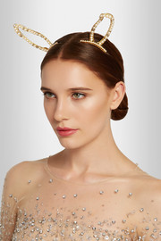 Stratosphere gold-plated, Swarovski crystal and faux pearl hair slides