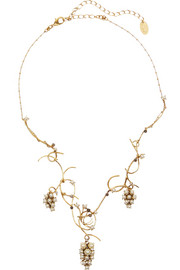 Grapes of Wrath gold-plated, Swarovski crystal and faux pearl pendant necklace