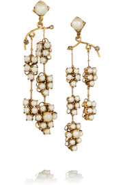 Grapes of Wrath gold-plated, Swarovski crystal and faux pearl earrings