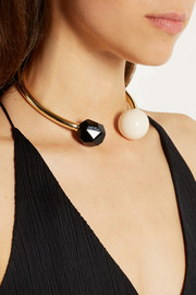 Gold-plated, agate and resin choker