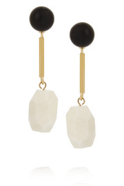 Gold-plated, resin and agate earrings