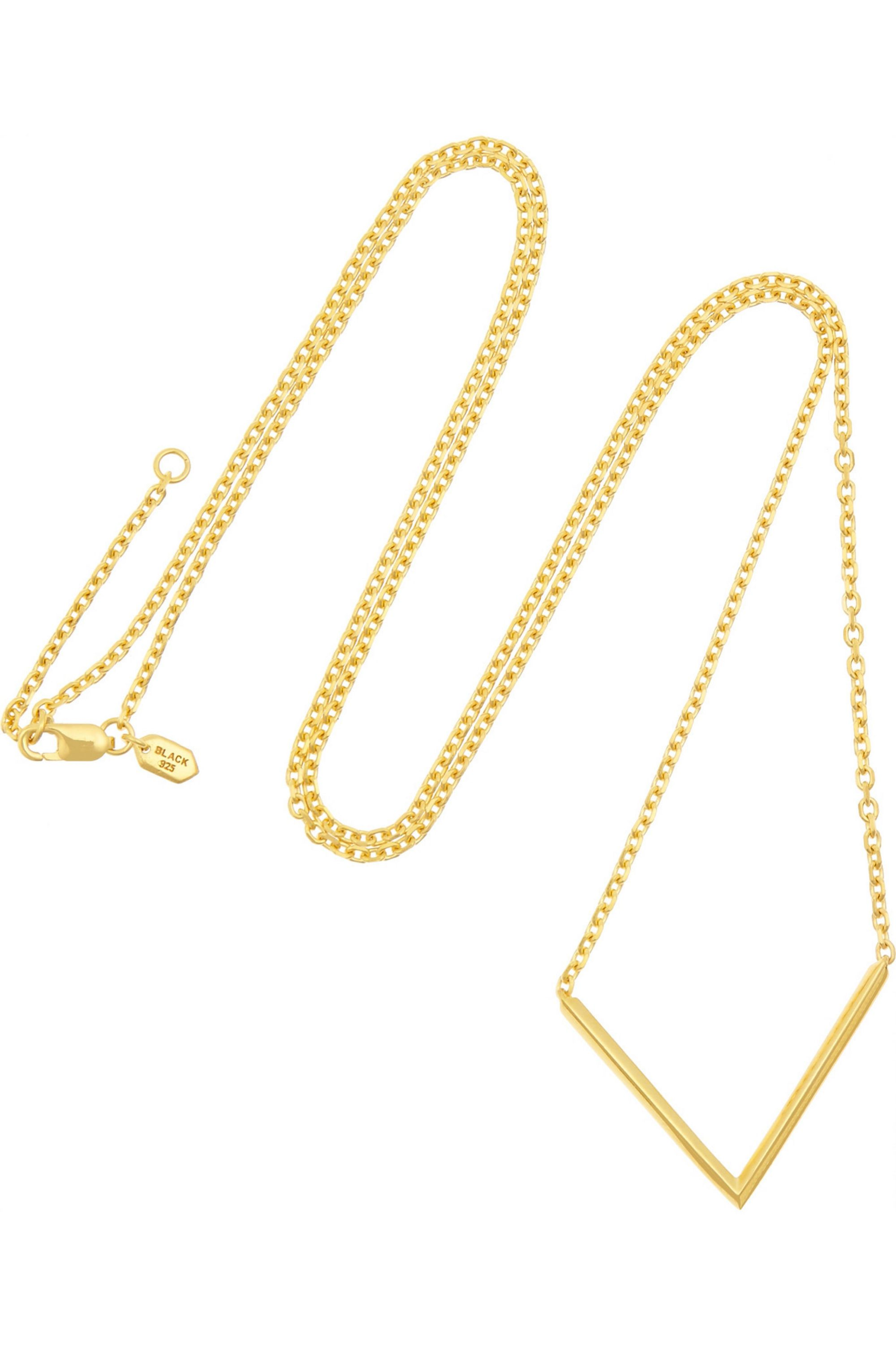 Maria Black Long Check gold-plated necklace