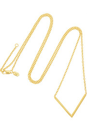 Long Check gold-plated necklace