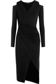 Asymmetric cutout stretch-jersey dress