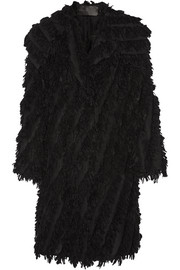 Oversized fringed alpaca-blend coat