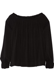 Off-the-shoulder stretch-silk chiffon top